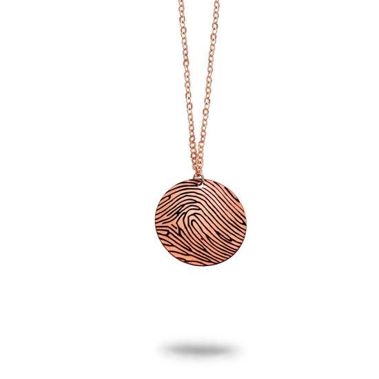 Imagen de Personalized Fingerprint Round Pendant Necklace in 925 Sterling Silver