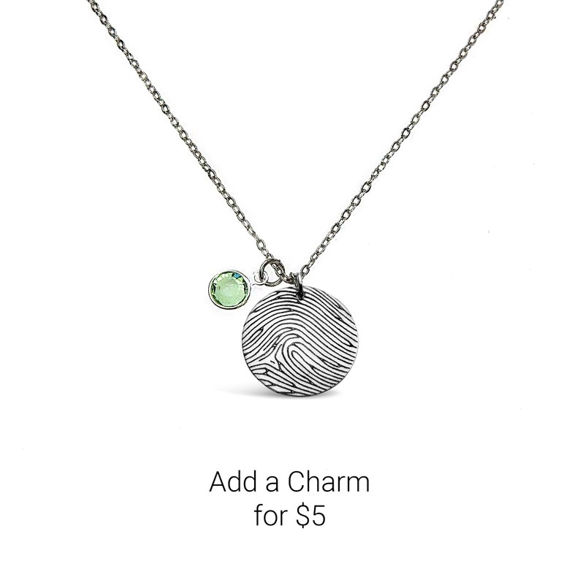 Picture of Personalized Fingerprint Round Pendant Necklace in 925 Sterling Silver