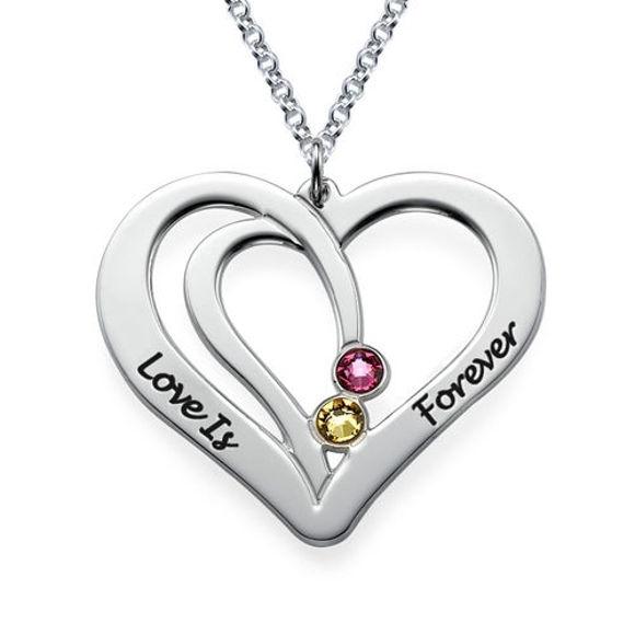 Imagen de Collar de piedra natal de pareja grabada en plata de ley