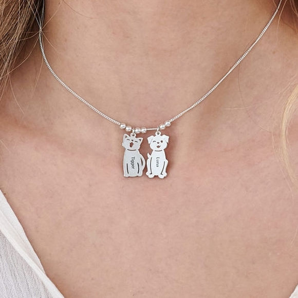 Picture of Engraved Charm with Dog Necklace in 925 Sterling Silver