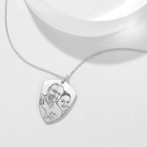Picture of 925 Sterling Silver Father's Day Gift -Engraved Photo Necklace