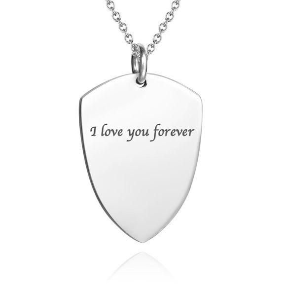 Imagen de Collar de foto de etiqueta de corazón grabado plata