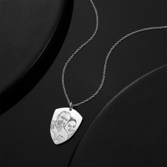 Imagen de 925 Sterling Silver Father's Day Gift -Engraved Photo Necklace