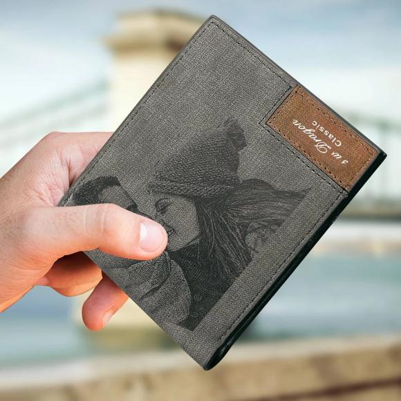 Bild von Herren Brieftasche mit Gravur - Graues