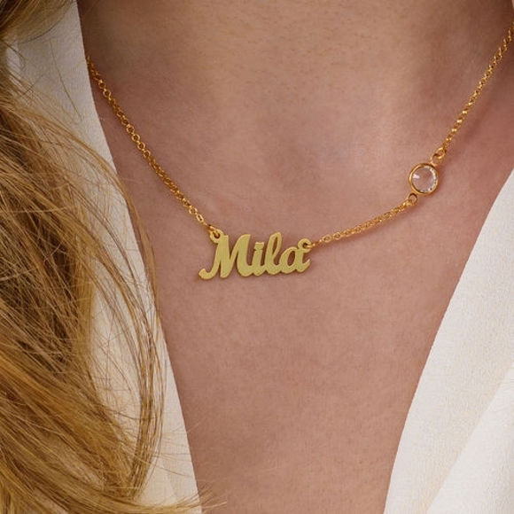 Picture of Name Necklace with One Birthstone
