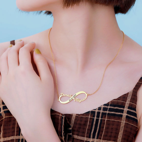 Picture of Custom 2 Names Infinity Necklace with Date in Gold