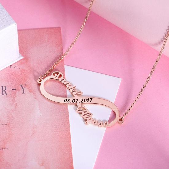 Immagine di Collana Infinity personalizzata 2 nomi con data in oro
