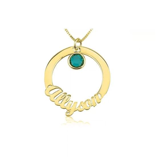 Imagen de Collar con nombre en círculo y piedra natal de color