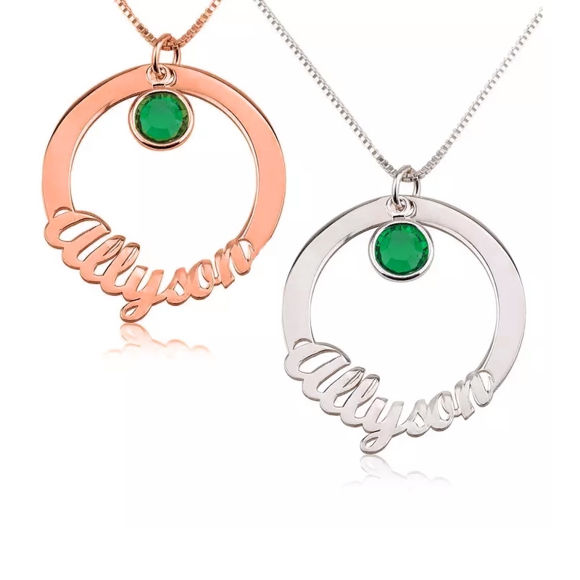 Picture of Circle Name Necklace with Color Birthstone