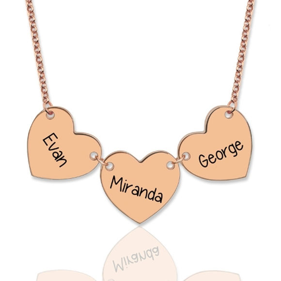Picture of Custom Engraved 3 Hearts & Names Necklace Sterling Silver