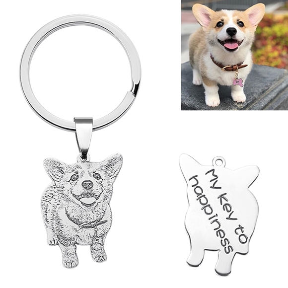 Picture of Engraved Sterling Silver Pet Photo Keychain