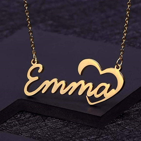 Picture of 925 Sterling Silver Custom Name Necklace with Heart Symbol Any Initial Nickname Necklace