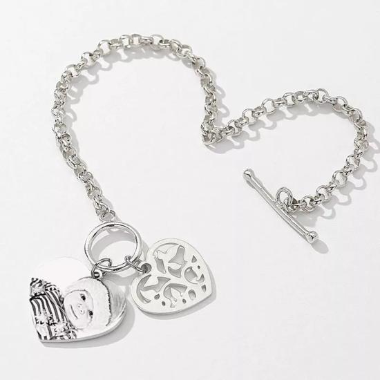 Imagen de Women's Photo Engraved Heart Tag Bracelet With Engraving Silver