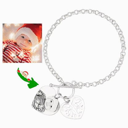 Imagen de Women's Photo Engraved Heart Tag Bracelet With Engraving Silver