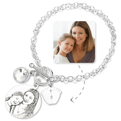 Imagen de Women's Photo Engraved Tag Bracelet With Engraving Silver