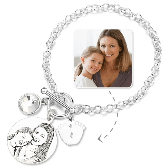 Picture of Women's Photo Engraved Tag Bracelet With Engraving Silver