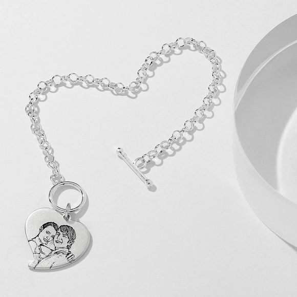 Picture of Women's Heart Photo Engraved Tag Bracelet With Engraving Silver