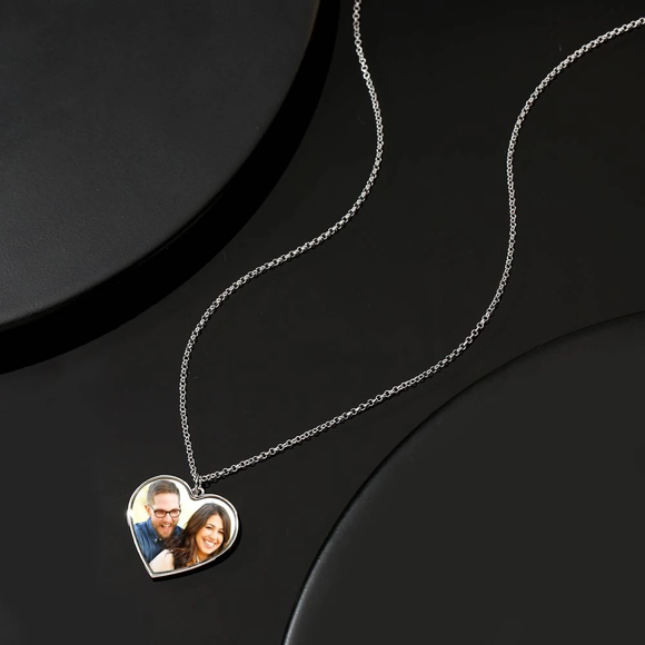 Picture of Engraved Heart Tag Photo Necklace Silver