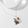 Picture of Engraved Square Tag Photo Necklace Silver