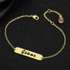 Picture of 925 Sterling Silver Hollow Carved Bar Name Bracelet with Heart-shaped Birthstone