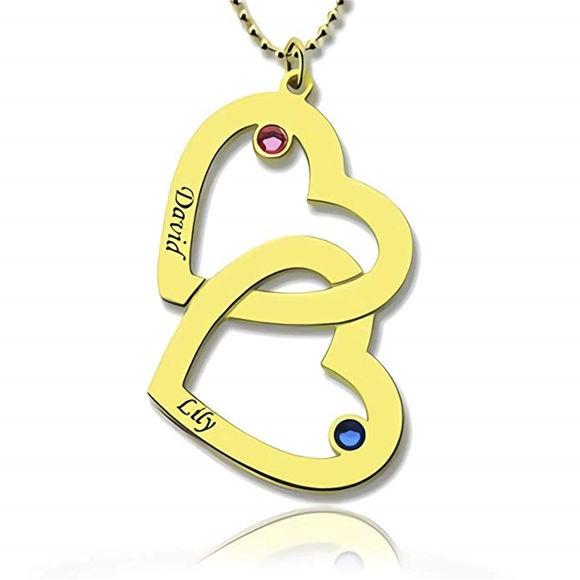 Imagen de Collar con nombre en forma de corazones entrelazados personalizados de plata esterlina con piedras natales