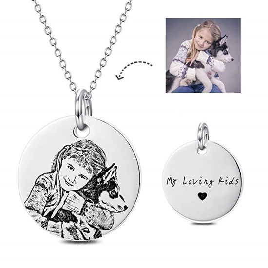 Imagen de Personalized Photo Engraved Necklace In 925 Sterling Silver