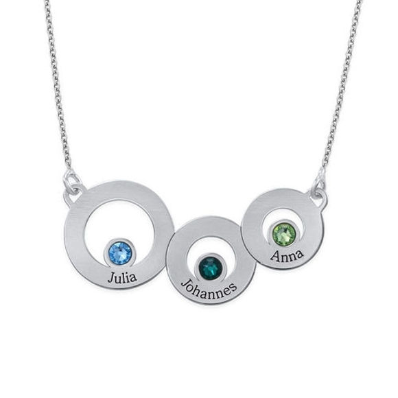 Picture of Engraved Connected Circles Necklace in 925 Sterling Silver