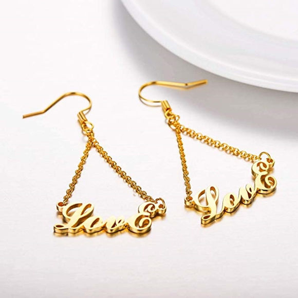 Picture of Personalized Name Earrings in 925 Sterling Silver