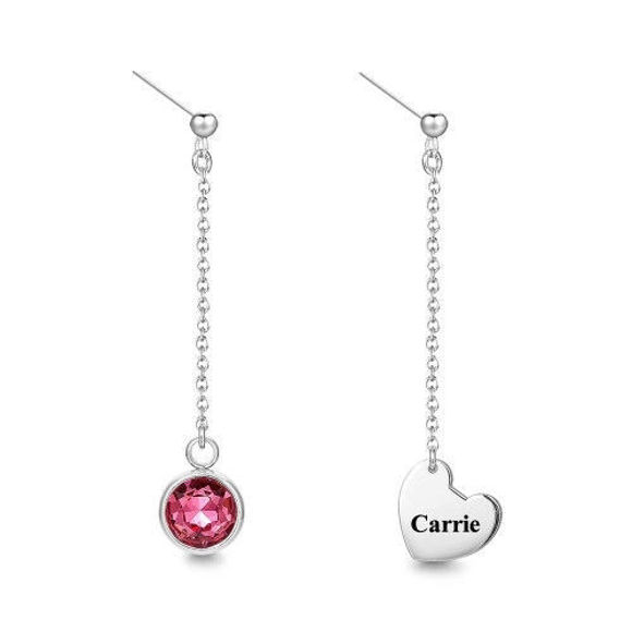 Picture of 925 Sterling Silver Engraved Drop Earrings With Custom Birthstone