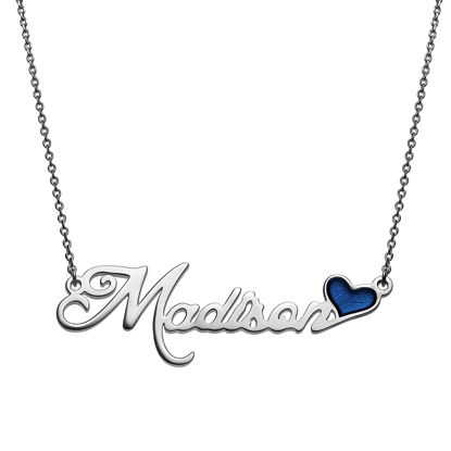 Imagen de Script Name Plaque Necklace With Blue Enamel Heart in 925 Sterling Silver
