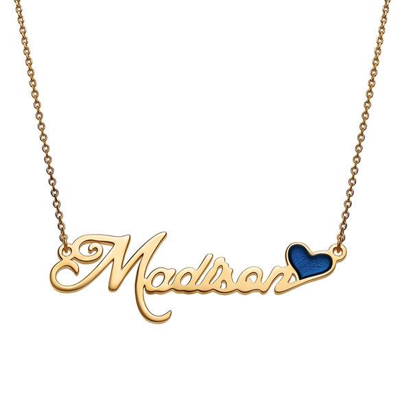 Immagine di Collana con targhetta con nome con cuore smaltato blu in argento sterling 925