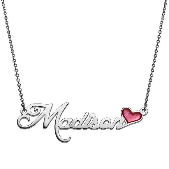 Picture of Gold Over Sterling Name With Pink Enamel Heart Necklace