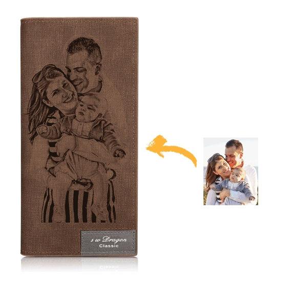 Immagine di Portafoglio doppio stile foto inciso per foto da donna / uomo - Marrone