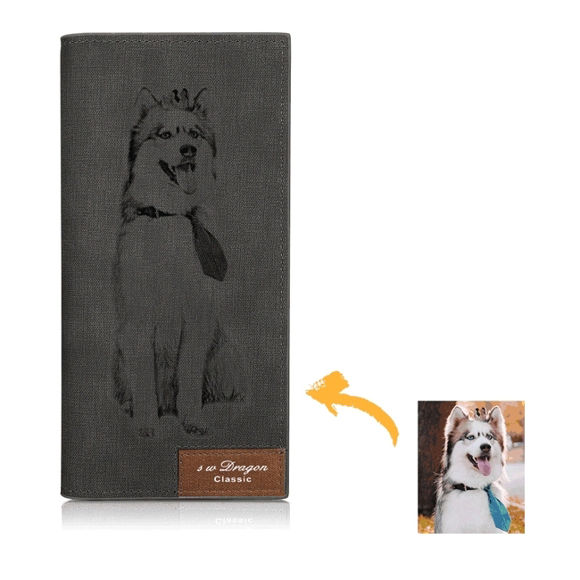 Picture of Ladies/men's Photo Engraved Long Style Bifold Photo Wallet - Gray