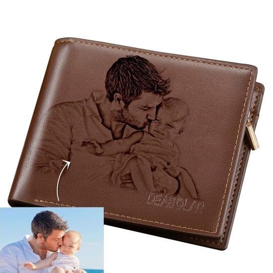 Immagine di Regali di Natale marroni portafogli da uomo personalizzati con foto personalizzata
