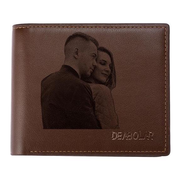 Imagen de Regalos personalizados de Navidad de la billetera triple de Custom Photo Brown