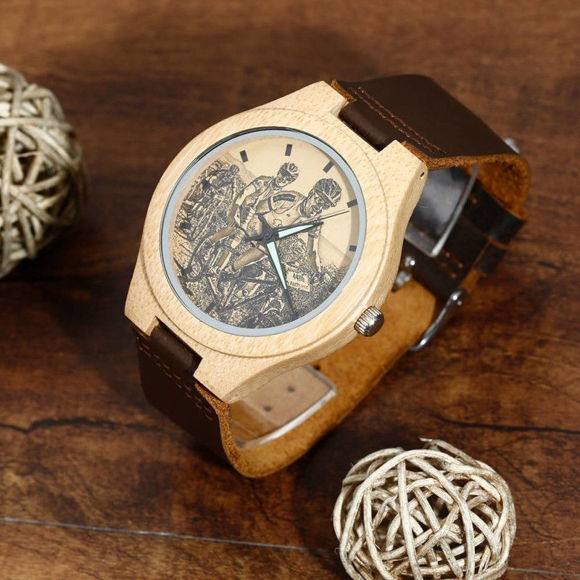 Picture of Men's Engraved Bamboo Photo Watch Brown Leather Strap