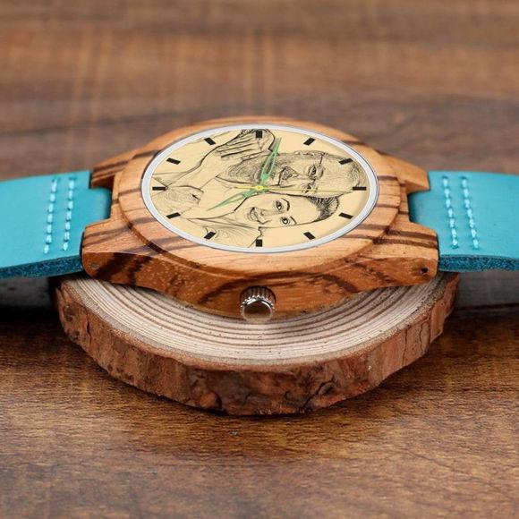 Imagen de Reloj fotográfico de rayas de madera grabado Correa de cuero azul - Madera de cebra