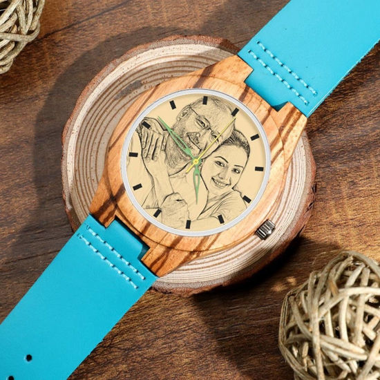 Imagen de Engraved Wooden Stripe Photo Watch Blue Leather Strap - Zebra Wood