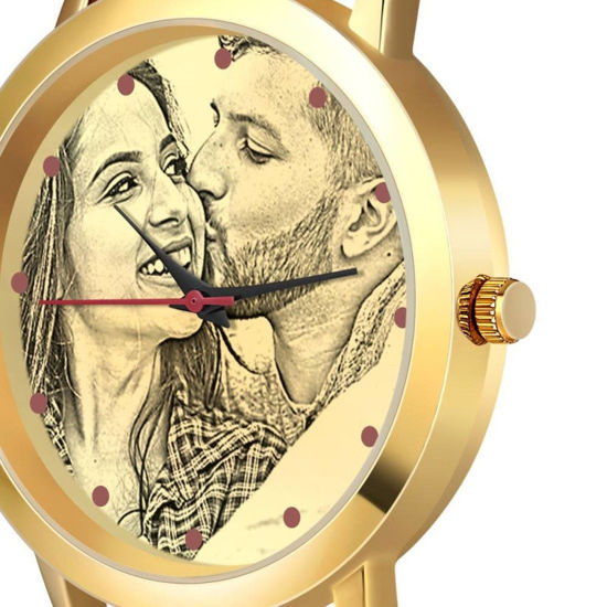 Imagen de Custom Women's Gold Photo Engraved Watch Braided Color Rope Strap