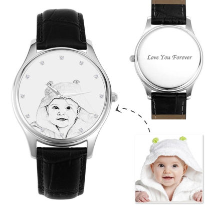 Picture of Custom Men's Engraved Photo Watch Black Leather Strap