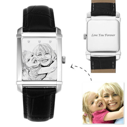 Picture of Men's Engraved Photo Watch Black Leather Strap