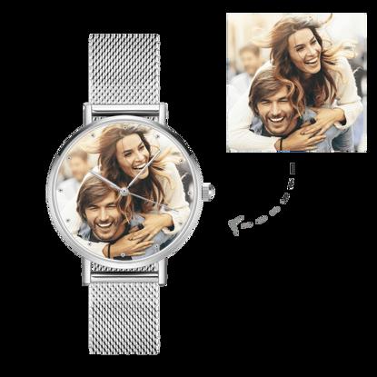 Imagen de Reloj fotográfico personalizado con pulsera de aleación grabada para mujer