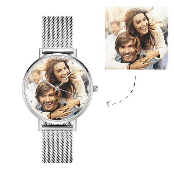Picture of Custom Women's Engraved Alloy Bracelet Photo Watch