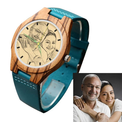 Picture of Engraved Wooden Stripe Photo Watch Blue Leather Strap - Zebra Wood