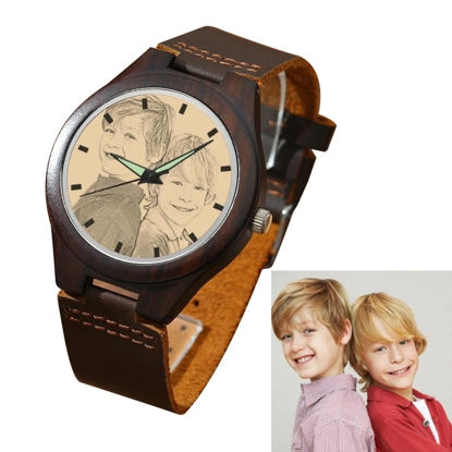 Picture of Men's Engraved Wooden Photo Watch Brown Leather Strap
