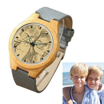 Imagen de Women's Engraved Bamboo Photo Watch Grey Leather Strap