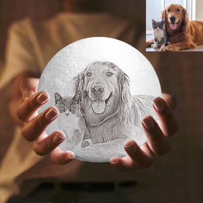 Picture of Magic 3D Personalized Photo Moon Lamp with Touch Control for Pets (10cm-20cm)