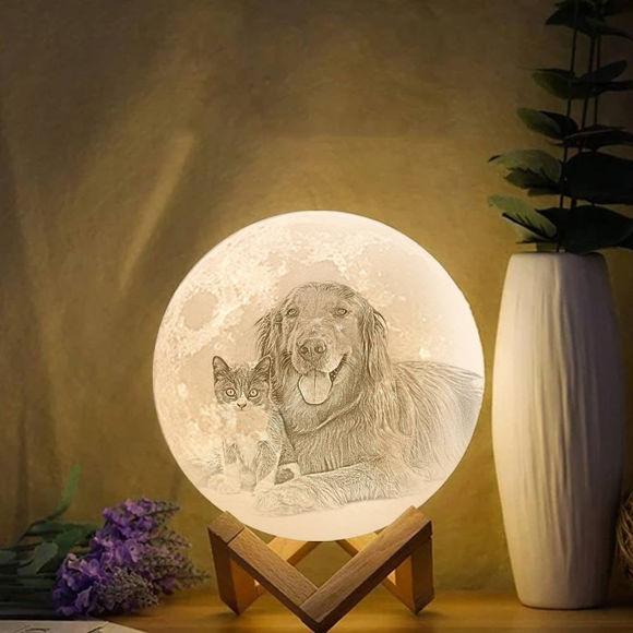 Imagen de Lámpara de luna con foto personalizada Magic 3D con control táctil para mascotas (10cm-20cm)
