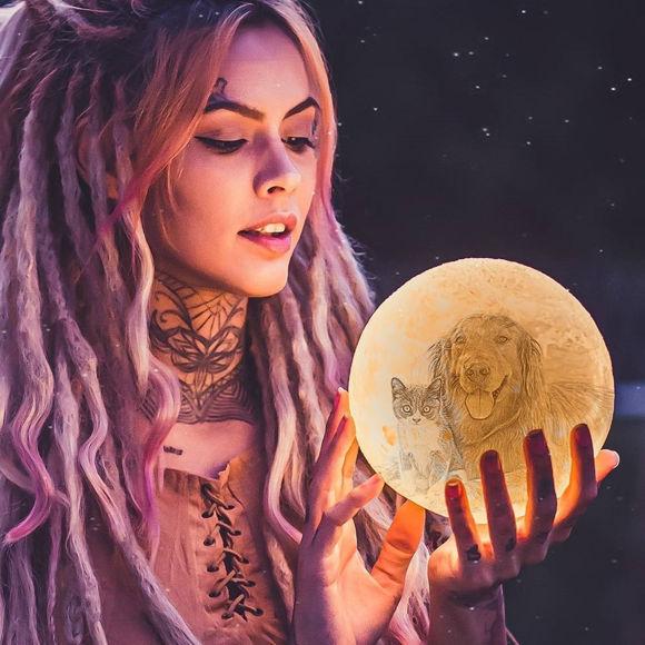 Immagine di Lampada lunare con foto personalizzata 3D magica con controllo touch per animali domestici (10cm-20cm)